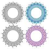 Hand drawn abstract round design elements set. Decorative Indian round lace ornate mandala. Frame or plate design Stock Images