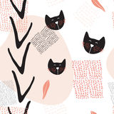 Hand drawn abstract seamless background pattern with cute cats. Vector illustration vector illustration