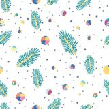 Hand drawn abstract seamless pattern. With colorful round composition and fir tree branch Royalty Free Stock Photos