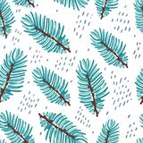 Hand drawn abstract seamless pattern. With fir tree branch Stock Photo