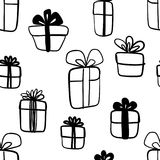 Hand drawn abstract seamless pattern with gift boxes  on white. Endless vector primitive background. Stylish monochrome doodles. Vector illustration Royalty Free Stock Image