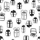 Hand drawn abstract seamless pattern with gift boxes  on white. Endless vector primitive background. Stylish monochrome doodles. Vector illustration Stock Photo