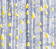 Hand-drawn abstract seamless pattern, leaves and rain drops Stock Images