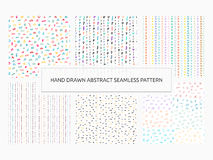 Hand drawn abstract seamless pattern set. Vector trendy print co. Llection. Lines, stripes, spots, hearts, dots, geometric symbols Royalty Free Stock Photos