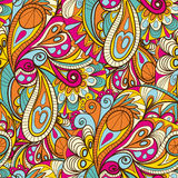 Hand-Drawn Abstract Seamless Pattern With Vintage-Colored Curves Royalty Free Stock Photos