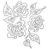 Hand drawn abstract set of rose or peonies flowers isolated on white. Floral design elements for your wedding invitation and. Greeting card. Hand drawn royalty free illustration