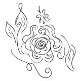 Hand drawn abstract set of rose or peonies flowers isolated on white. Floral design elements for your wedding invitation and. Greeting card. Hand drawn vector illustration