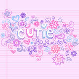 Hand-Drawn Abstract Sketchy Cutie Doodles. Hand-Drawn Abstract Sketchy Cutie Doodle Letting with Flower, Hearts, BUtterfly, adn Stars Vector Illustration. Design Stock Photos