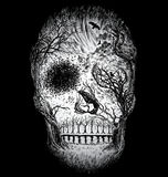 Hand Drawn Abstract Skull Made from Trees and foliage.  Stock Photography