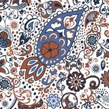 Hand-drawn abstract tribal vintage ethnic paisley ornament. Royalty Free Stock Image