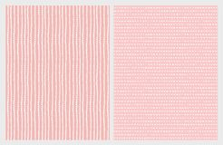 Hand Drawn Abstract Vector Patterns. White Lines and Triangles on a Pink Background. royalty free illustration