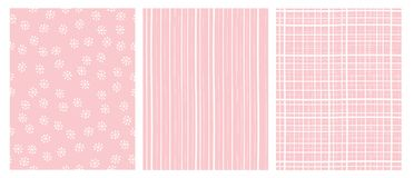 Hand Drawn Abstract Vector Patterns. White and Pink Infantile Design. Stripes and Snow Flakes. stock illustration