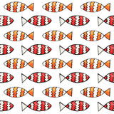 Hand drawn abstract watercolor and ink fish seamless pattern. On the white background Royalty Free Stock Photography