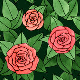 Hand drawn abstract watercolor and ink rose with leaves seamless pattern on the dark green background. Hand drawn watercolor and ink rose with leaves seamless Vector Illustration