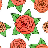 Hand drawn abstract watercolor and ink rose with leaves seamless pattern on the white background. Hand drawn watercolor and ink rose with leaves seamless pattern Royalty Free Stock Images