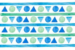 Hand drawn abstract watercolor lines, triangles and circles. Blue and green elements. Isolated. stock illustration