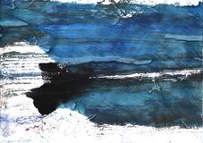 Black Blue clouded watercolor background Stock Images