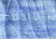 Corn flower blue streaked wash drawing paper. Hand-drawn abstract watercolor texture. Used contrasting and transient colors royalty free stock photo