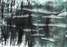 Dark slate gray nebulous watercolor paper. Hand-drawn abstract watercolor texture. Used contrasting and transient colors Stock Photo
