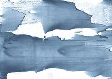Gray-blue clouded watercolor background. Hand-drawn abstract watercolor texture. Used contrasting and transient colors Stock Photos