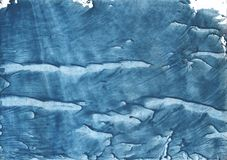 Steel blue streaked watercolor painting. Hand-drawn abstract watercolor texture. Used contrasting and transient colors Stock Image
