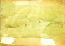 Yellow green clouded watercolor illustration Stock Photography