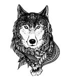 Hand drawn abstract wolf vector illustration. Abstract hand-drawing with elements of ornaments wolf graphic pen, boho Stock Photography