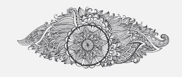Hand-drawn Abstracte bloemen met het etnische patroon van de ornamentenkrabbel Stock Afbeeldingen