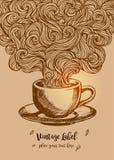 Hand-drawn Abstracte kop van koffie met krabbelpatroon Royalty-vrije Stock Afbeeldingen