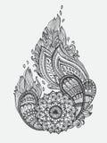 Hand-drawn Abstracte kop van koffie met krabbelpatroon Royalty-vrije Stock Fotografie