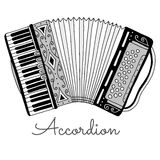 Hand drawn accordion vector illustration. Musical instrument Royalty Free Stock Image