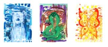 Hand drawn acrylic illustration isolated animal set