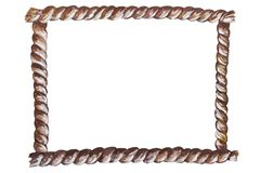 Hand drawn with acrylic paint rope rectangle frame isolated on white. Background stock illustration
