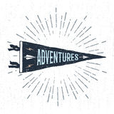 Hand drawn adventure pennant flag vector illustration. Hand drawn adventure pennant flag vector illustration and `Adventures` inspirational lettering Royalty Free Stock Image