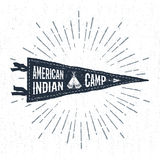 Hand drawn adventure pennant flag vector illustration. Hand drawn adventure pennant flag vector illustration and `American Indian camp` inspirational lettering Stock Images