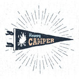 Hand drawn adventure pennant flag vector illustration. Hand drawn adventure pennant flag vector illustration and `Happy camper` inspirational lettering Stock Images