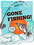 Hand Drawn Advertising Fishing Poster Stock Photos