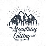 Hand drawn advventure label. Mountains calling illustration. Typography design with sun bursts. Roughen style. Adventure Royalty Free Stock Photo