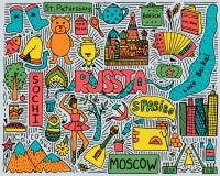 Hand-drawn affiche van de kleurenkrabbel met Russische gezichten en symbolen stock illustratie