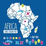 Hand drawn Africa travel map with pins vector Royalty Free Stock Photography