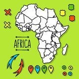 Hand drawn Africa travel map with pins vector Royalty Free Stock Photos