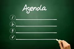 Hand drawn AGENDA concept, blank on blackboard Stock Photography