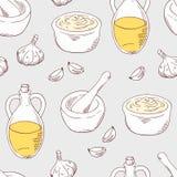 Hand drawn aioli sauce seamless pattern background Royalty Free Stock Image
