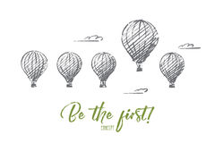 Hand drawn air ballons with one higher than others Royalty Free Stock Photos