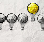 Hand drawn air balloons with crumpled paper ball Stock Photography