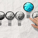 Hand drawn air balloons with crumpled paper ball Royalty Free Stock Images