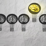 Hand drawn air balloons with 3d metal brain Stock Images