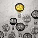 Hand drawn air balloons with 3d metal brain Stock Photos