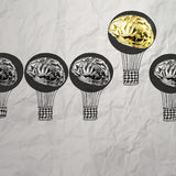Hand drawn air balloons with 3d metal brain Stock Image