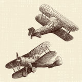 Hand drawn airplanes set royalty free stock photos